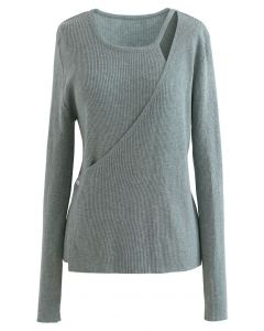 Button Wrapped Knit Top in Teal