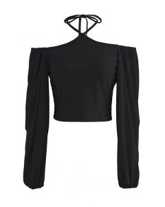 Tie Neck Puff Sleeve Crop Top in Black