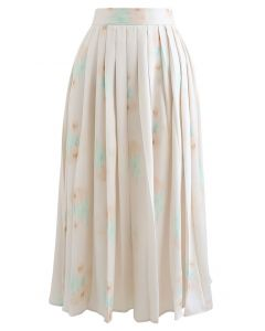 Floral Print Pleated Midi Skirt in Blush Pink