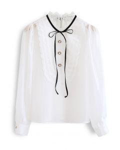 Embroidery Trim Organza Bib Shirt
