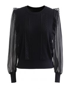 Spliced Mesh Sleeve Knit Top in Black