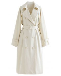 Double-Breasted Belted Trench Coat in Cream