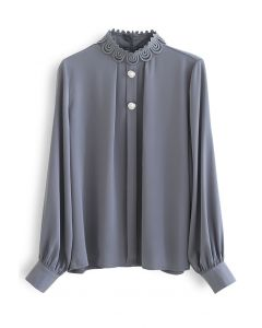 Lace High Neck Button Trim Satin Top in Grey