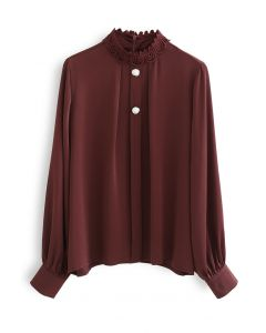 Lace High Neck Button Trim Satin Top in Wine