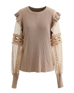 Lace-Adorned Mesh Sleeve Knit Top in Tan