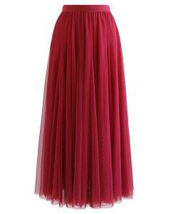 My Secret Garden Tulle Maxi Skirt in Red