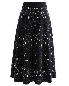 Starry Sky A-Line Knit Midi Skirt in Black
