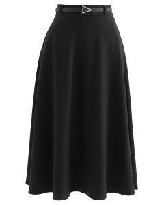 Slanted Side Pocket Belted A-Line Midi Skirt in Black