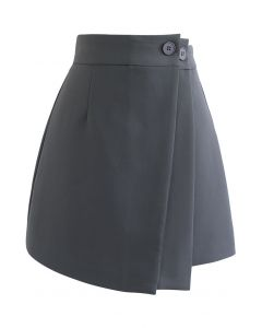 Double Flap Buttoned Mini Skirt in Grey