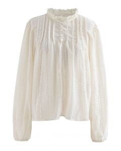 Lacy Neck Embroidered Sheer Smock Top