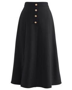 Golden Button Trim Front Slit Midi Skirt in Black