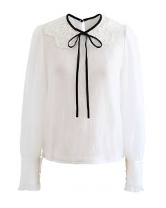 Peter-Pan Collar Tie Bow Lace Organza Top in White