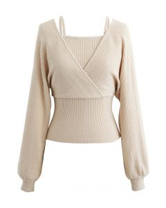 Fake Two-Piece Cold-Shoulder Wrap Knit Top in Cream