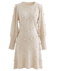 Puff Sleeve Pom-Pom Sweater Dress in Cream