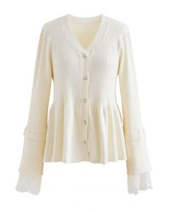 Lace Inserted Peplum Knit Top in Cream