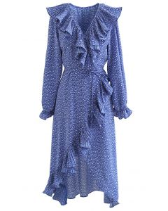 Flowery Wrap Ruffle Asymmetric Midi Dress in Blue