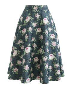 Shimmer Peony Jacquard Flare Midi Skirt
