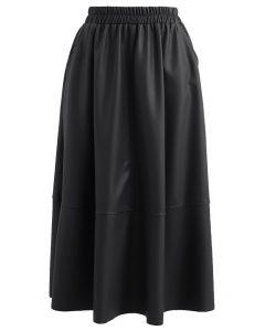 Faux Leather Side Pocket Midi Skirt in Black