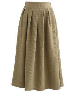 Waffle Pattern Pleated Midi Skirt in Khaki