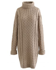 Turtleneck Cable Knit Sweater Dress in Tan