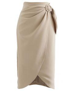Flap Front Knot Side Midi Petal Skirt in Light Tan