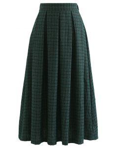 Shimmer Gingham Pleated Midi Skirt in Dark Green