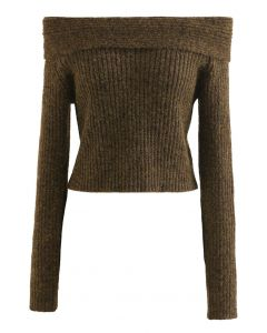 Courtly Off-Shoulder Fuzzy Crop Knit Top in Brown