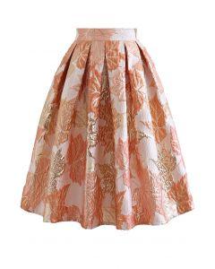 Maple Leaf Embossed Jacquard Pleated Skirt