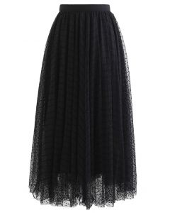 Lacy Chain Double-Layered Mesh Tulle Midi Skirt in Black