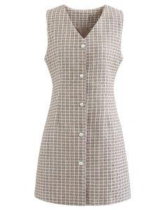Button Down Sleeveless Shimmer Tweed Dress in Linen