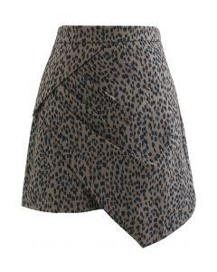 Animal Print Side Pleated Asymmetric Mini Skirt in Brown