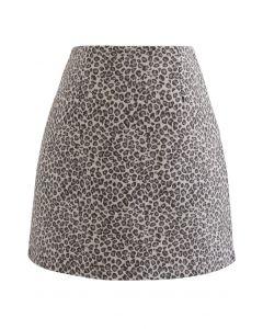 Wool-Blend Leopard Print Mini Bud Skirt