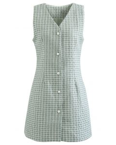 Button Down Sleeveless Shimmer Tweed Dress in Mint