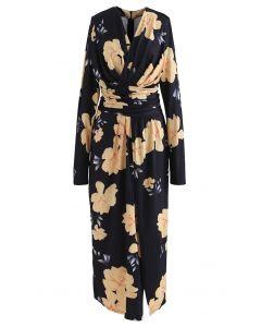 Ruched Wrap V-Neck Slit Maxi Dress in Floral