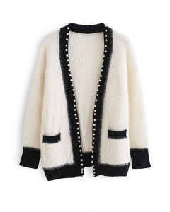 Shimmer Fuzzy Knit Pearly Cardigan in White