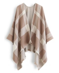 Single-Sided Check Print Reversible Poncho in Taupe