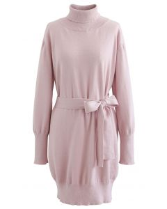 Turtleneck Self-Tie Waist Sweater Dress in Pink