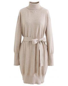 Turtleneck Self-Tie Waist Sweater Dress in Linen