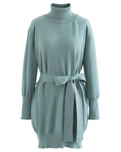Turtleneck Self-Tie Waist Sweater Dress in Teal