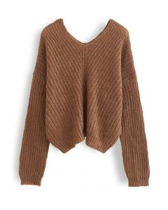 V-Neck Hollow Out Knit Sweater in Caramel