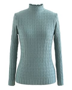 Maze Embossed High Neck Fitted Knit Top in Turquoise