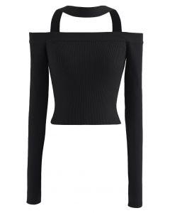 Halter Neck Off-Shoulder Crop Knit Top in Black