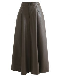 Dual Patched Pockets A-Line Faux Leather Skirt in Brown