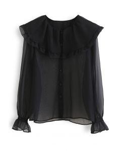 Oversized Peter-Pan Collar Sheer Shirt in Black