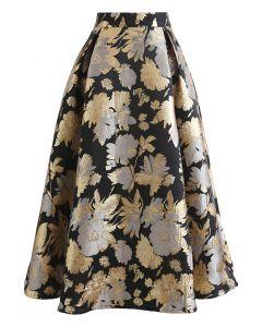 Golden Bouquets Jacquard A-Line Midi Skirt