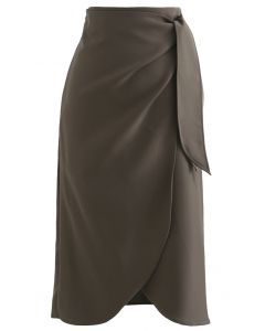 Tie-Knot Waist Flap Midi Skirt in Dark Khaki