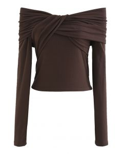 Twisted Front Off-Shoulder Crop Top in Brown