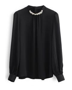 Pearl Embellished Mock Neck Satin Top in Black