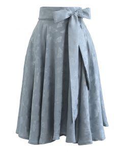 Jacquard Butterfly Bowknot Flare Midi Skirt in Dusty Blue