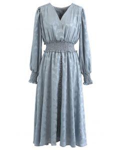 Jacquard Butterfly Button Down Wrap Midi Dress in Dusty Blue
